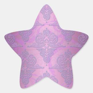 Purple and Pink Grunge Victorian Floral Damask Star Sticker