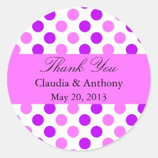 Purple and Pink Polka Dots Wedding Round Sticker