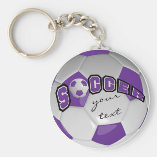 Purple and White Personalize Soccer Ball Basic Round Button Key Ring