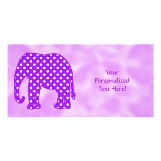Purple and White Polka Dots Elephant Photo Greeting Card