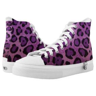 Purple Animal Print High Top Shoes Printed Shoes
