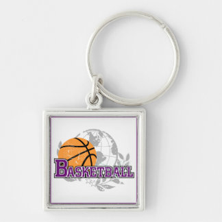 Purple Basketball T-shirts and Gifts Silver-Colored Square Key Ring