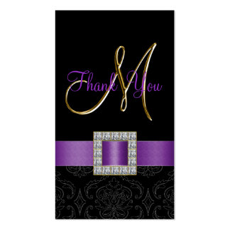 Purple, Black Damask Gold Wedding Thank You Pack Of Standard Business Cards