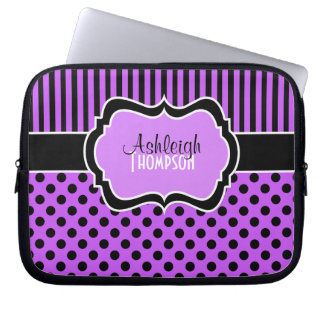 Purple, Black, White, Polka Dot Laptop Sleeve