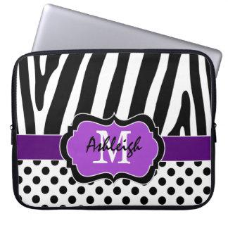 Purple Black Zebra Stripes Polka Dots Laptop Case Laptop Computer Sleeve