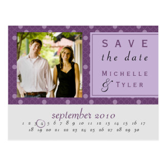Purple Circle Save the Date Card Postcard