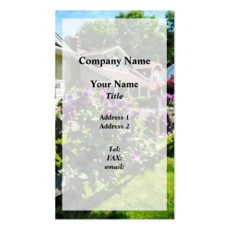 Purple Clematis on Rustic Fence Overlay Pack Of Standard Business Cards
