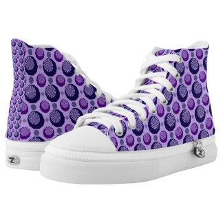 Purple Diamonds Hi Top Printed Shoes