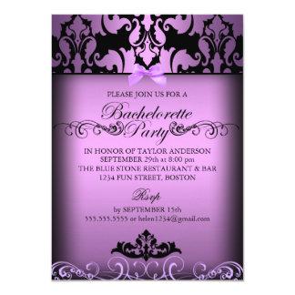 Purple Elegant Damask Bachelorette Party Invite