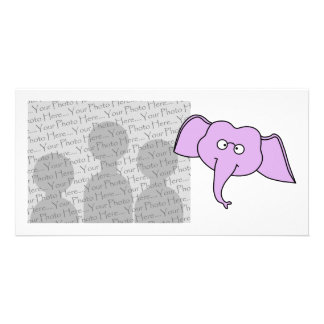 Purple Elephant with Glasses. Photo Card Template