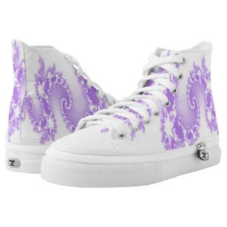 Purple Flame Burst Hi Top Printed Shoes