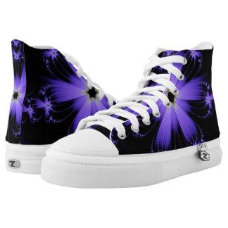 Purple Flower Burst Hi Top Printed Shoes