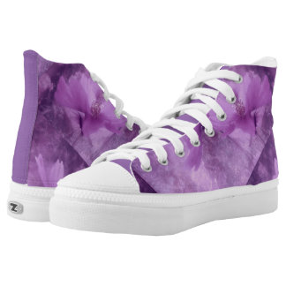 Purple Flower High Tops Printed Shoes