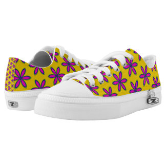 Purple Flower Patch Low Top Shoes- small print Printed Shoes