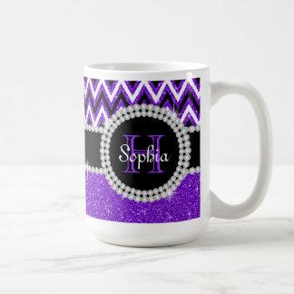 Purple Glitter Purple Chevron Monogram Coffee Mug
