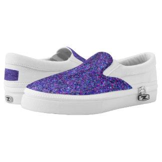 Purple Glitter Zipz Slip On Shoes, Printed Shoes