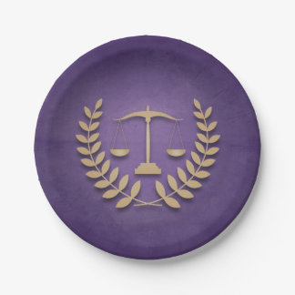 Purple+Gold Legal Practice/Law Graduation Party 7 Inch Paper Plate