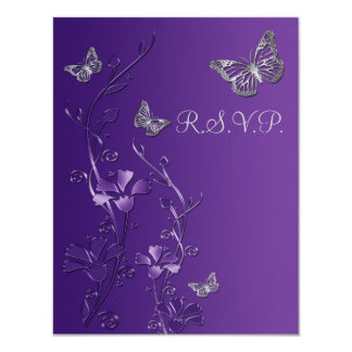 Purple, Gray Floral with Butterflies RSVP Card 2 11 Cm X 14 Cm Invitation Card