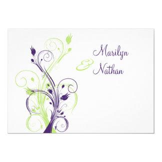 Purple Green White Floral Wedding Invitation