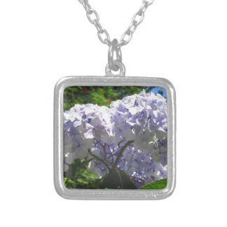 Purple Hydrangea flowers (Hydrangea macrophylla) Square Pendant Necklace
