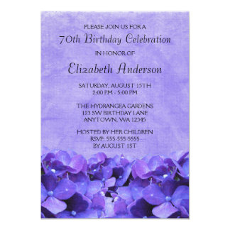 Purple Hydrangeas 70th Birthday Party Invitations