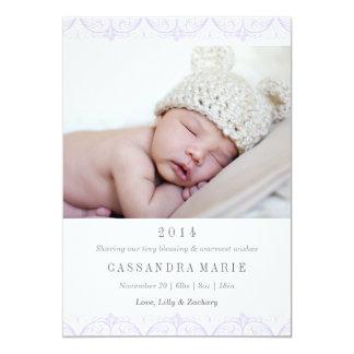 Purple Lace Birth Announcement