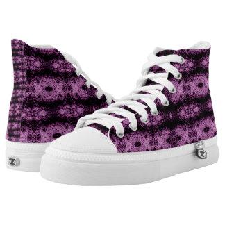Purple Lace Hi Top Printed Shoes