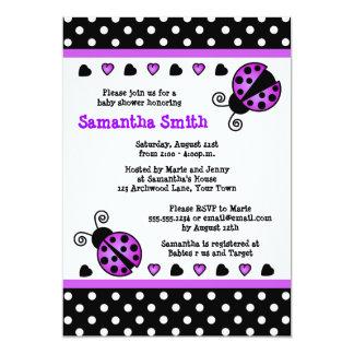 Purple Ladybug Baby Shower Black White Polka Dots 13 Cm X 18 Cm Invitation Card