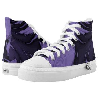 Purple Marble Hi Top Printed Shoes