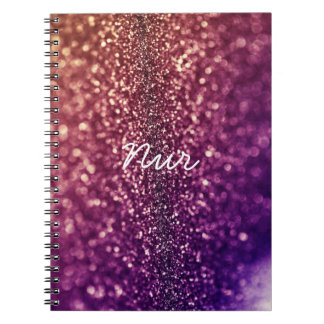 Purple named NUR crystal glitter notebook
