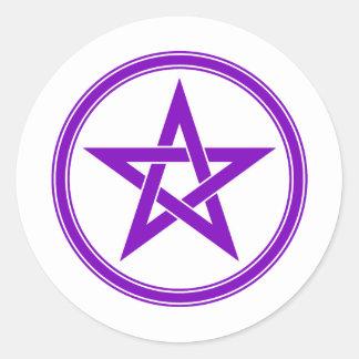 Purple Pentacle Pentagram Round Sticker