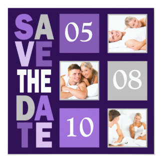 Purple Photo Save The Date Invitations