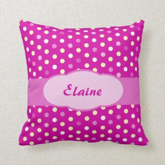Purple pink girls name polka dot pillow cushions