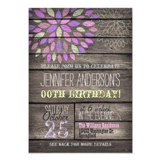 Purple, Pink, Green Flower Rustic Wood Birthday 13 Cm X 18 Cm Invitation Card