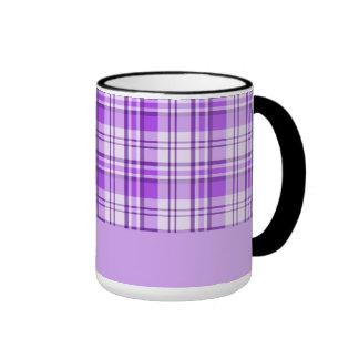 Purple Plaid Ringer Mug