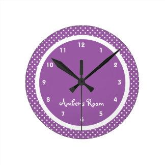 Purple Polka Dot Kid's Bedroom Wall Clock