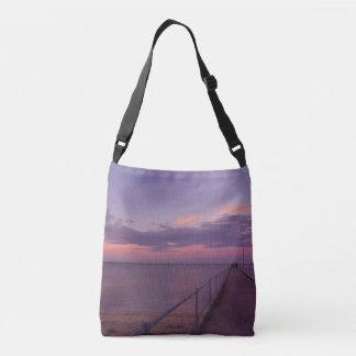 Purple_Ripples,_Beach,-Medium_Cross_Body_Bag, Tote Bag