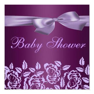 Purple Rose Baby Shower Invitation