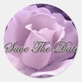 Purple Rose Save the Date Round Sticker