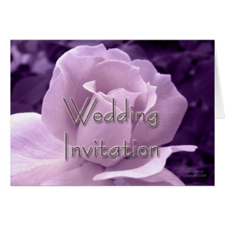 Purple Rose Wedding Invitation Greeting Card