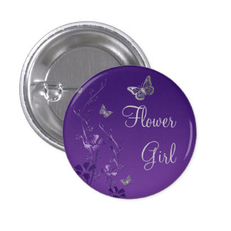 Purple Silver Butterfly Floral Flower Girl Pin