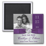 Purple, Silver Grey Floral Save the Date Magnet