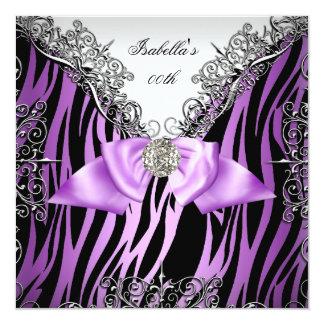 Purple Silver White Black Zebra Birthday Party 13 Cm X 13 Cm Square Invitation Card