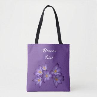 Purple Spring Floral Flower Girl Wedding Tote Bag
