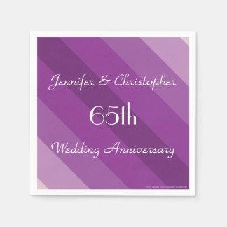 Purple Striped Napkins, 65th Wedding Anniversary Disposable Serviettes