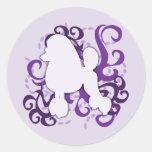 Purple Swirl Poodle Round Sticker