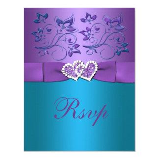 Purple, Teal Floral Hearts Monogram Wedding RSVP 11 Cm X 14 Cm Invitation Card