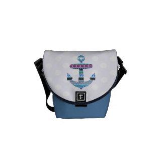 Purple Tribal Anchor and polka dots Messenger Bags