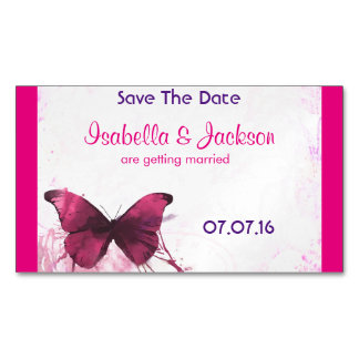 Purple Watercolor Butterfly on Pink Magnetic Business Cards