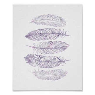 Purple Watercolor Feather Tribal Print Poster